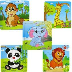 5PCS Kids Puzzle Toys For 2-4 Age Wooden Animals Educational
