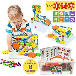 ETI Toys | STEM Learning | 192 Piece Jumbo Gears Set with Re