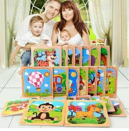 Educational Kids Learning Toy Wooden 3D Puzzle Jigsaw Animal