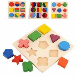 Kids Educational Puzzle Sets Wooden Geometry Wood Toys Baby