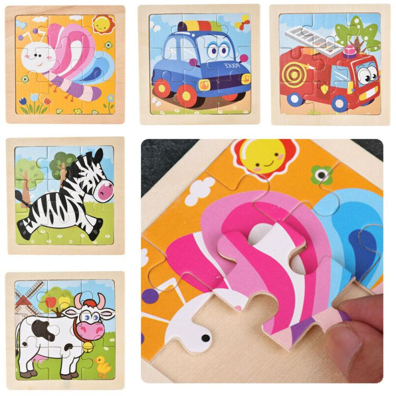 Baby Toys Wooden Puzzle Cartoon Educational Toy Games Accessory