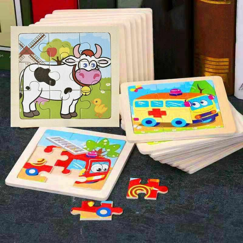 baby kids toys 3d wooden puzzle cartoon