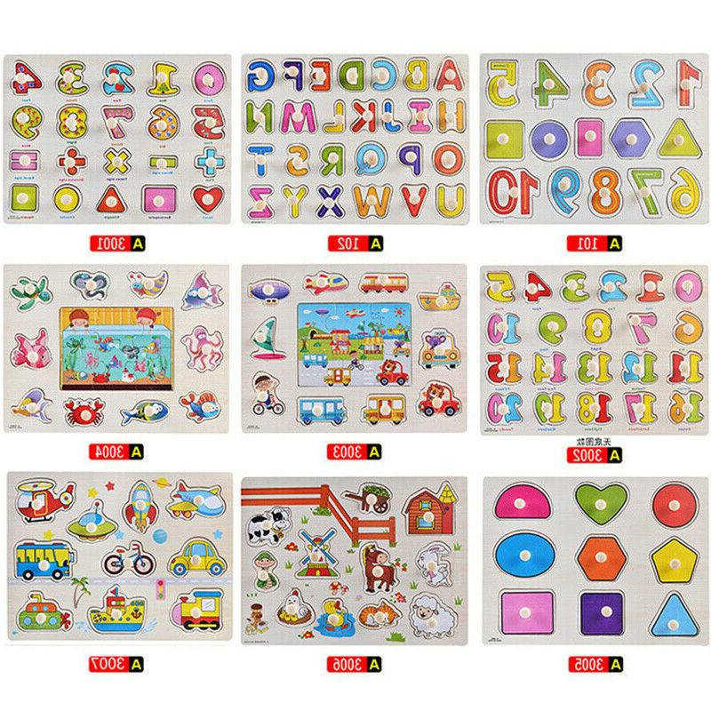 Kids Wooden Jigsaw Montessori Learning Educational Toys Gifts