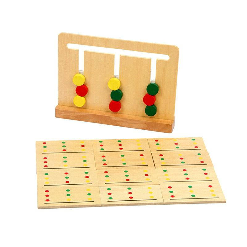 Montessori wooden toy baby learning 3 color game sorting move card