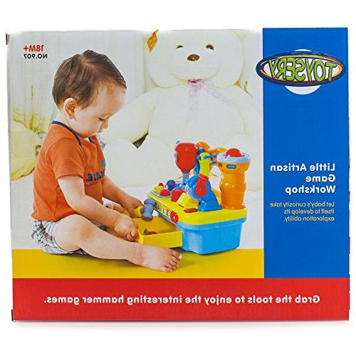 Toy Workshop Playset for Kids with Lights Pretend Play, Great Educational for   Gift Toddler Boys