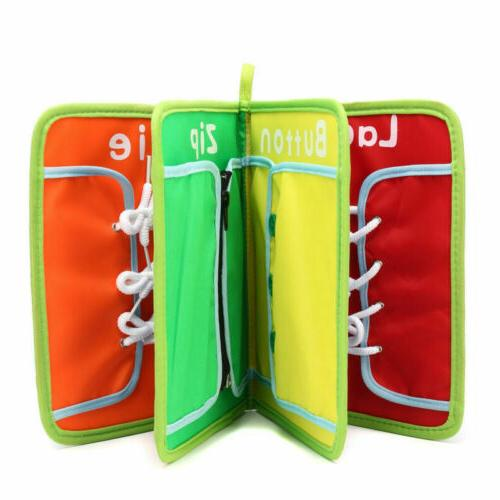 Montessori Learn to Boards Kid Toys Book Buckle Lace
