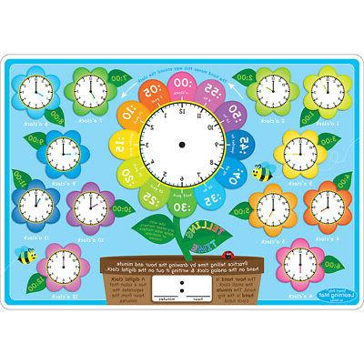 telling time learning mat 2 sided