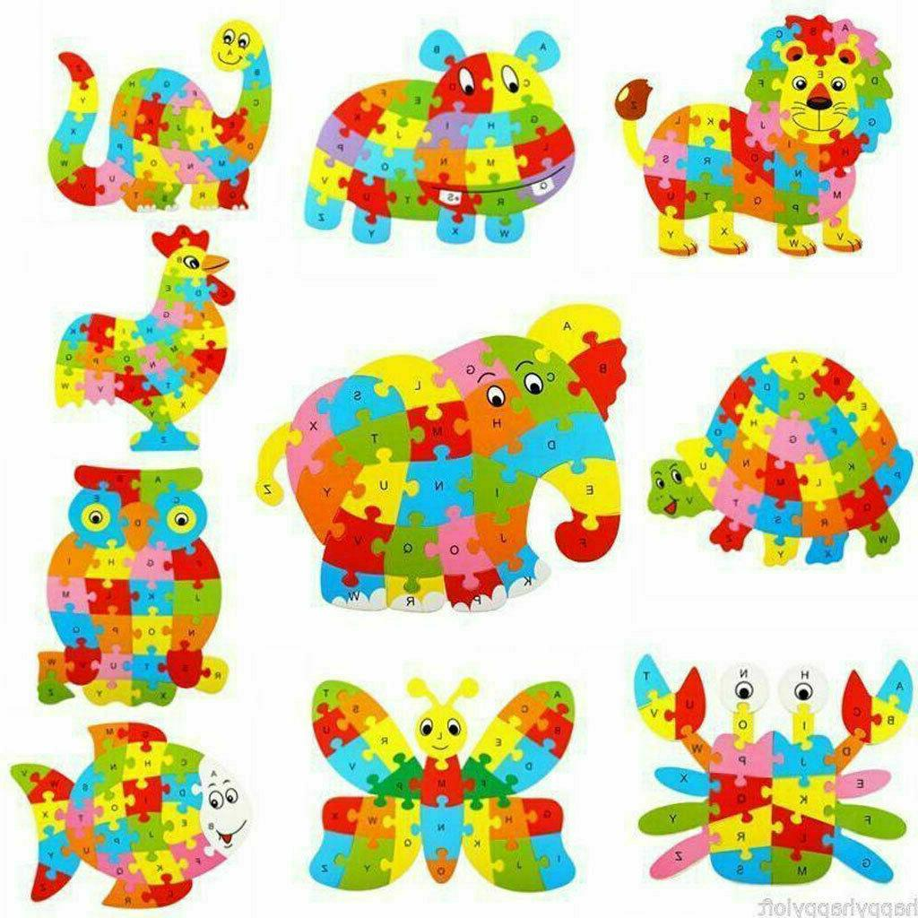 wooden puzzle alphabet abc learning toys jigsaw