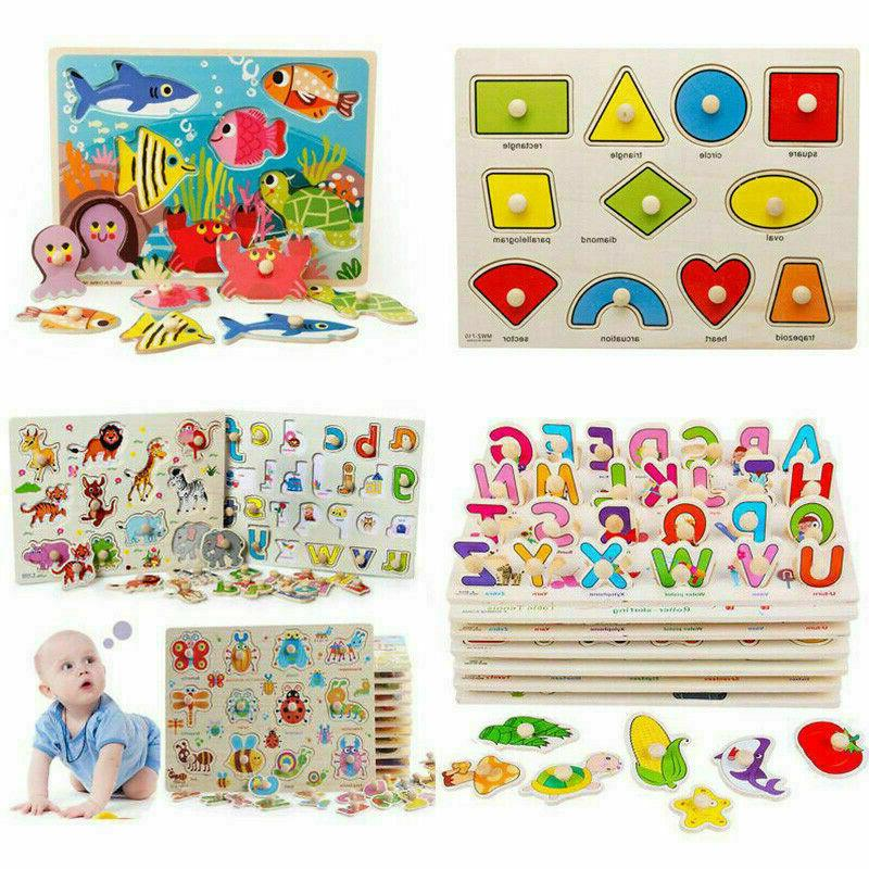 Kids Wood Puzzles Learning Toys Alphabets Numbers Shapes Vehicles