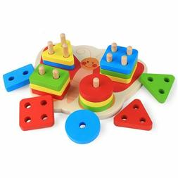 Montessori Wooden Shape Sorting Toys Colorful Kids Learning