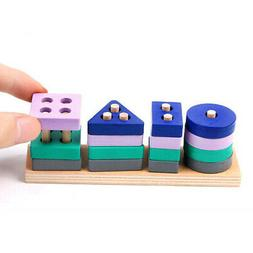 Wooden Stacking Toys Color Shape Sorting Sorter Toy Pre Scho