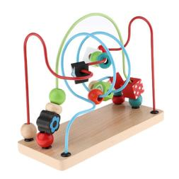 Wooden Three Wire Bead Maze Puzzle Early Learning Toy for To