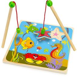 Wooden Wonders Lift & Look Magnetic Fishing Game with 2 Pole