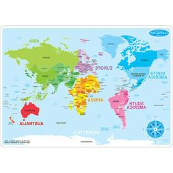 world map learning mat double sided
